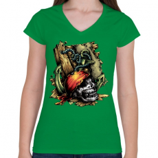 PRINTFASHION Kalóz - Női V-nyakú póló - Zöld