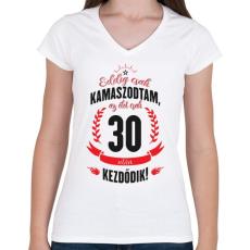 PRINTFASHION kamasz-30-black-red - Női V-nyakú póló - Fehér