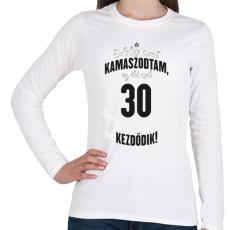 PRINTFASHION kamasz-30-black-white - Női hosszú ujjú póló - Fehér