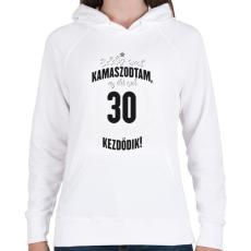 PRINTFASHION kamasz-30-black-white - Női kapucnis pulóver - Fehér