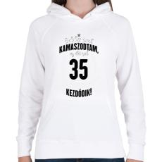 PRINTFASHION kamasz-35-black-white - Női kapucnis pulóver - Fehér