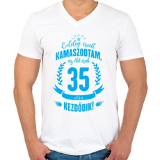 PRINTFASHION kamasz-35-cyan - Férfi V-nyakú póló - Fehér