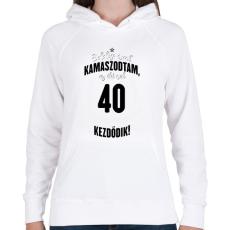 PRINTFASHION kamasz-40-black-white - Női kapucnis pulóver - Fehér