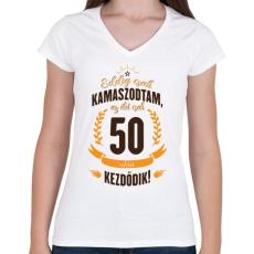 PRINTFASHION kamasz-50-brown-orange - Női V-nyakú póló - Fehér