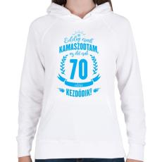 PRINTFASHION kamasz-70-cyan - Női kapucnis pulóver - Fehér