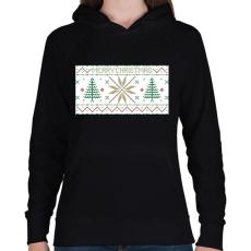 PRINTFASHION Karácsony mintázat - Női kapucnis pulóver - Fekete
