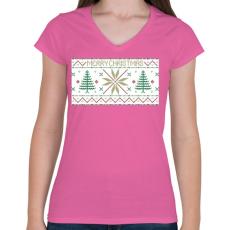 PRINTFASHION Karácsony mintázat - Női V-nyakú póló - Rózsaszín
