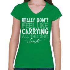 PRINTFASHION Karácsonyi ajándék - Női V-nyakú póló - Zöld