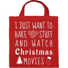 PRINTFASHION Karácsonyi filmek és sütés - Vászontáska - Piros