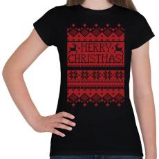 PRINTFASHION Karácsonyi minta - Női póló - Fekete