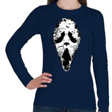PRINTFASHION Kaszás arca - Női hosszú ujjú póló - Sötétkék
