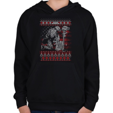 PRINTFASHION Katona karácsony - Gyerek kapucnis pulóver - Fekete