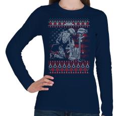 PRINTFASHION Katona karácsony - Női hosszú ujjú póló - Sötétkék