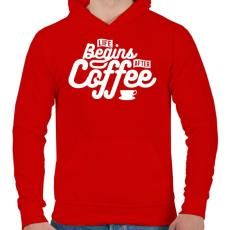 PRINTFASHION Kávé után kezdődik az élet  - Férfi kapucnis pulóver - Piros