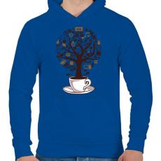 PRINTFASHION Kávéfa - Férfi kapucnis pulóver - Királykék