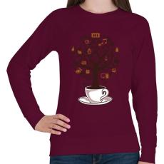PRINTFASHION Kávéfa - Női pulóver - Bordó