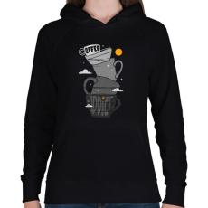PRINTFASHION Kávéfüggő - Női kapucnis pulóver - Fekete