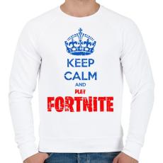 PRINTFASHION Keep Calm Fortnite - Férfi pulóver - Fehér