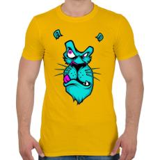 PRINTFASHION Kék oroszlán - Férfi póló - Sárga