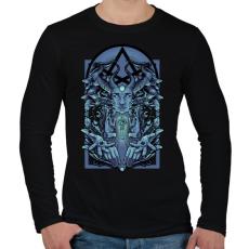PRINTFASHION Kék vászon - Férfi hosszú ujjú póló - Fekete