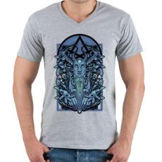 PRINTFASHION Kék vászon - Férfi V-nyakú póló - Sport szürke