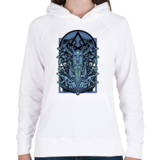 PRINTFASHION Kék vászon - Női kapucnis pulóver - Fehér
