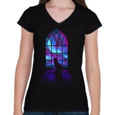PRINTFASHION Kell a tér  - Női V-nyakú póló - Fekete