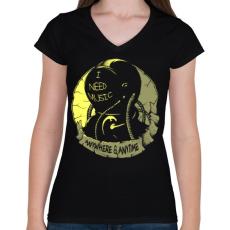 PRINTFASHION Kell a zene - Női V-nyakú póló - Fekete