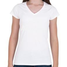PRINTFASHION kerekpar-white - Női V-nyakú póló - Fehér