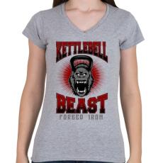 PRINTFASHION Kettlebell szörny - Női V-nyakú póló - Sport szürke
