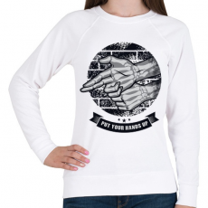 PRINTFASHION Kezeket fel!  - Női pulóver - Fehér