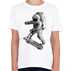 PRINTFASHION Kickflip in space - Gyerek póló - Fehér