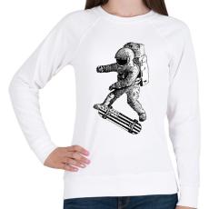 PRINTFASHION Kickflip in space - Női pulóver - Fehér