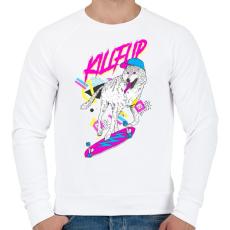 PRINTFASHION Kickflip wolf - Férfi pulóver - Fehér
