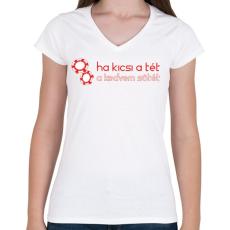 PRINTFASHION kicsi-a-tet-red-white - Női V-nyakú póló - Fehér