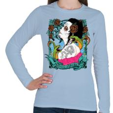 PRINTFASHION Kígyókirálynő - Női hosszú ujjú póló - Világoskék