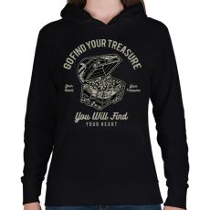 PRINTFASHION Kincsesláda - Női kapucnis pulóver - Fekete