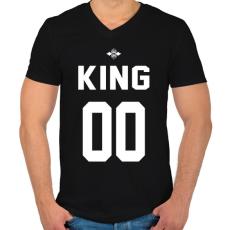 PRINTFASHION KING 00 - Férfi V-nyakú póló - Fekete