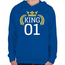 PRINTFASHION KING 01 - Gyerek kapucnis pulóver - Királykék