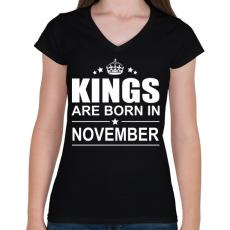 PRINTFASHION Kings are born in November - Női V-nyakú póló - Fekete