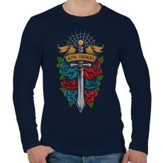 PRINTFASHION Királyi kard - Férfi hosszú ujjú póló - Sötétkék