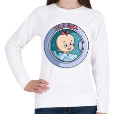 PRINTFASHION Kislány a mosógépben - Női pulóver - Fehér