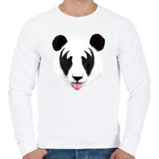 PRINTFASHION Kiss of a panda - Férfi pulóver - Fehér