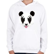 PRINTFASHION Kiss of a panda - Gyerek kapucnis pulóver - Fehér