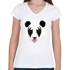 PRINTFASHION Kiss of a panda - Női V-nyakú póló - Fehér