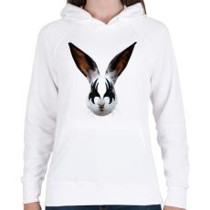 PRINTFASHION Kiss of a rabbit - Női kapucnis pulóver - Fehér