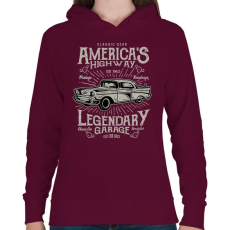 PRINTFASHION Klasszikus Amerikai autó - Női kapucnis pulóver - Bordó