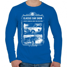 PRINTFASHION Klasszikus autók - Férfi hosszú ujjú póló - Királykék
