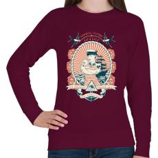 PRINTFASHION Klasszikus tengerész tetoválás - Női pulóver - Bordó