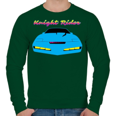 PRINTFASHION Knight Rider Synthwave - Férfi pulóver - Sötétzöld